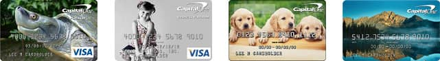 Collage of Capital One Card Designs