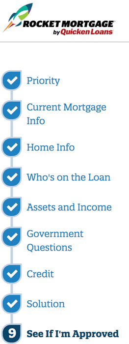 A Screenshot of the Nine Steps Required to Complete a Rocket Mortgage Application