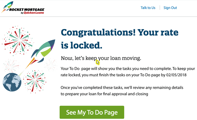 A Screenshot Showing a Rocket Mortgage Application Rate Being Locked