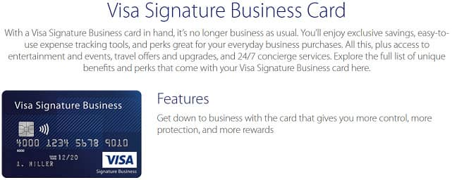 Screenshot of Visa Signature Business Page