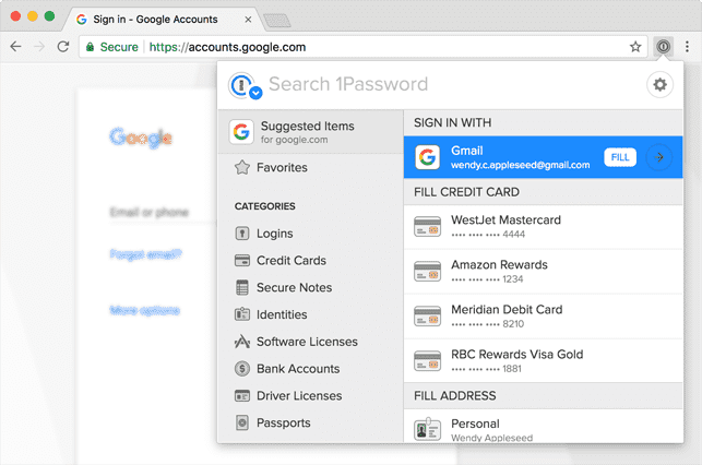 A Screenshot of 1Password on a Web Browser