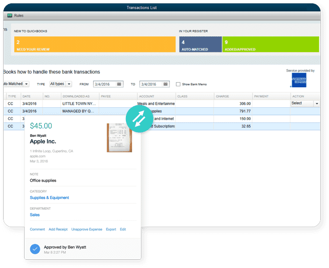 A Screenshot of Abacus Running on QuickBooks