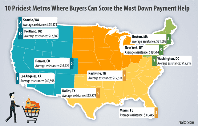 A Map Showing the Priciest Metro Areas Where Buyers Can Get the Most Down Payment Assistance