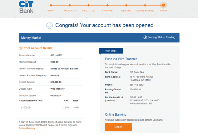 A Screenshot Showing the Online Application Process for a CIT Bank Account