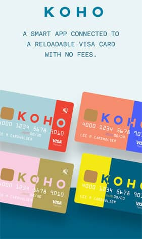 A Picture of KOHO-branded Debit Cards