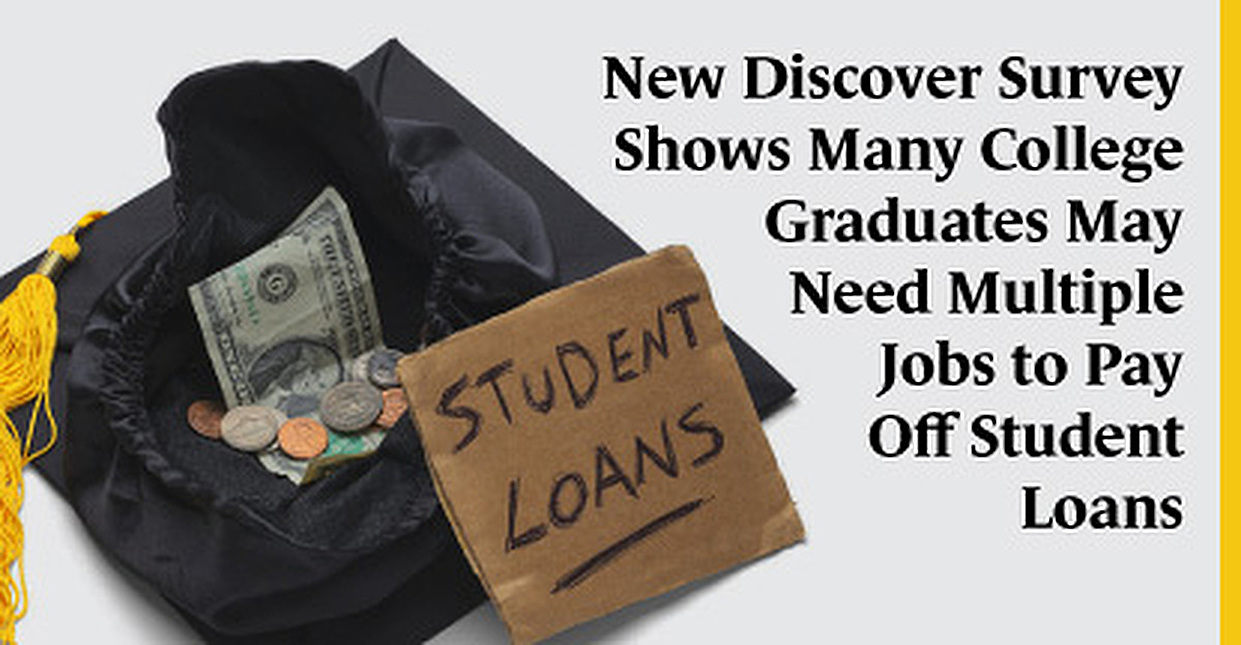 New Discover Survey Shows Many College Graduates May Need Multiple Jobs to Pay Off Student Loans