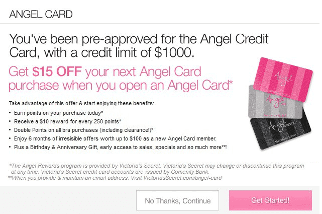 Screenshot of Victoria's Secret Credit Card Pop Up Offer