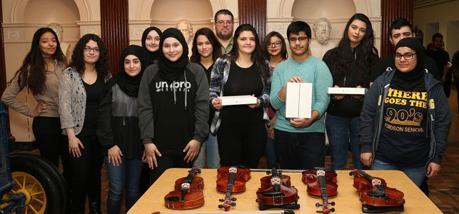 Photo of music students from a program backed by DFCU Financial