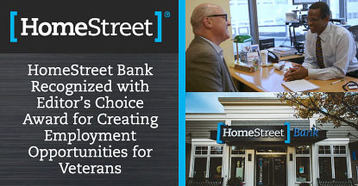 HomeStreet Bank Recognized with Editor's Choice Award for Creating Employment Opportunities for Veterans