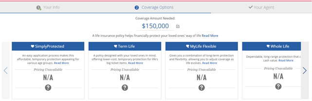 Screenshot of American Family Insurance calculator