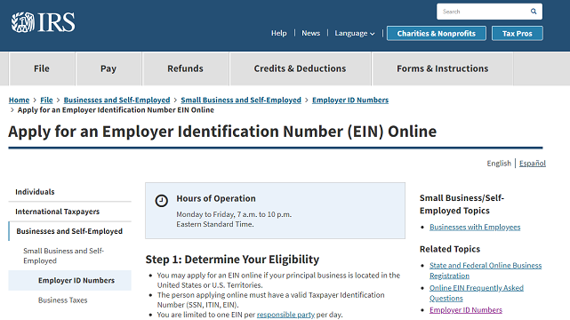 Screenshot of IRS EIN Application Page