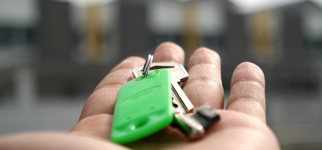 A photo of a hand holding a set of house keys