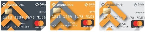 Three Avidia credit cards