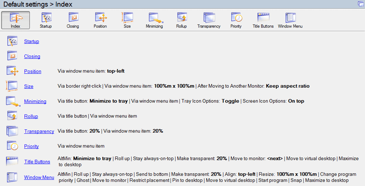 Screenshot of Actual Window Manager Dashboard