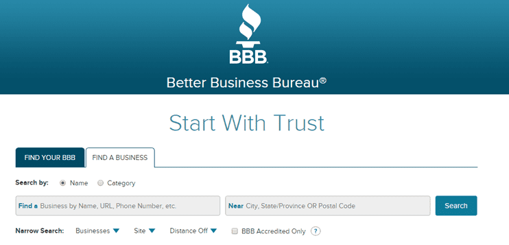Screenshot of Better Business Bureau homepage