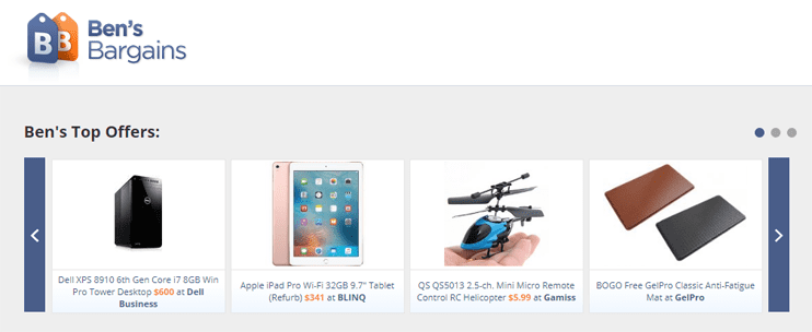 Screenshot of Ben's Bargains homepage