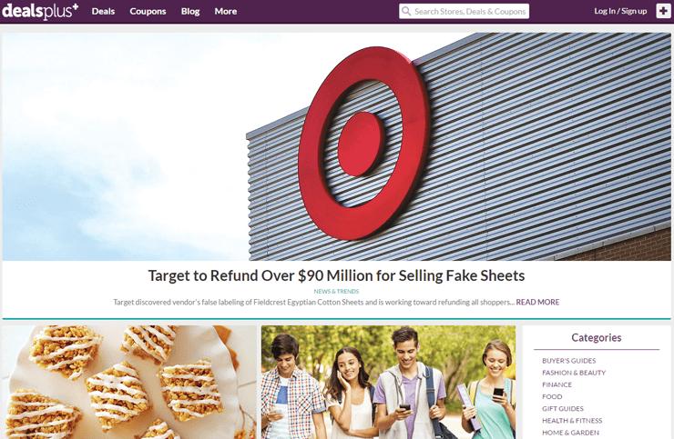 Screen shot of DealsPlus' blog
