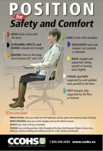 Screenshot of a CCOHS poster about ergonomics