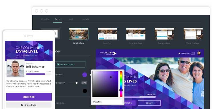 Screenshot of Classy platform product designer