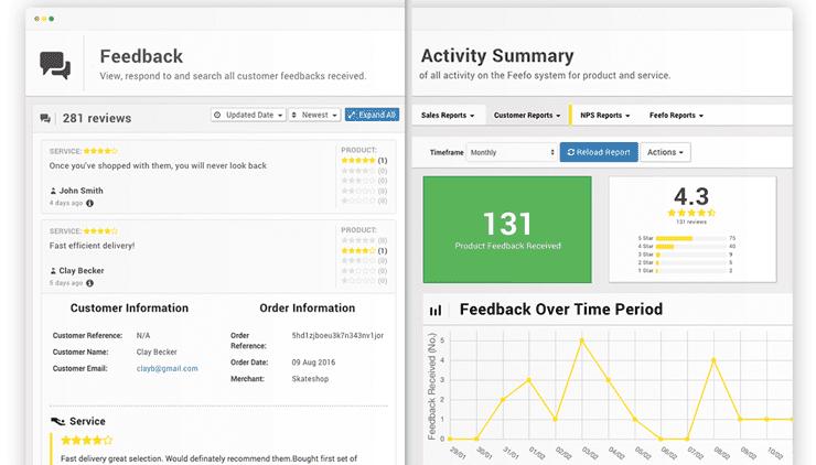 Screenshot of Feefo dashboard
