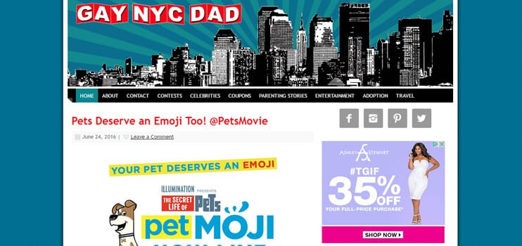 A screenshot of Gay NYC Dad's site