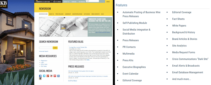 Screenshot of Business Wire News Room