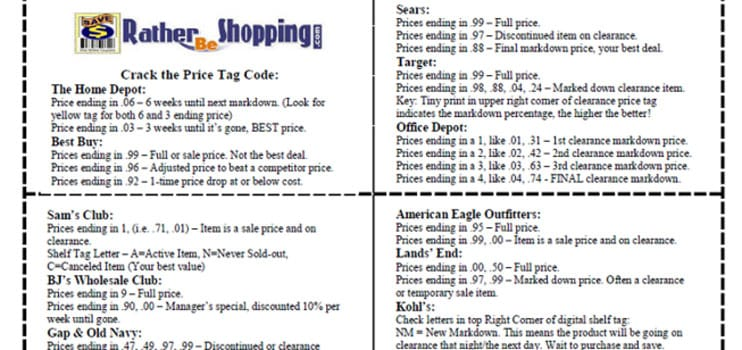Rather Be Shopping's Price Tag Code Cheat Sheet