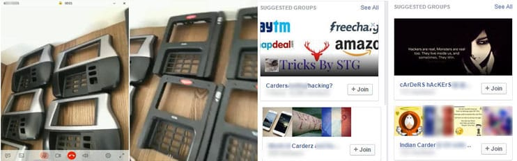 Collage of fake POS terminals and selling card numbers on social media