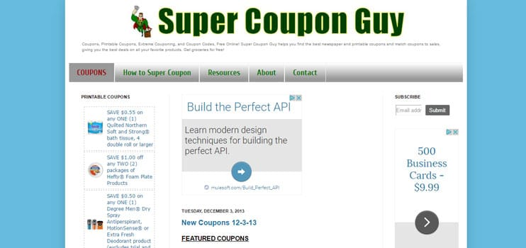 A screenshot of Super Coupon Guy's site