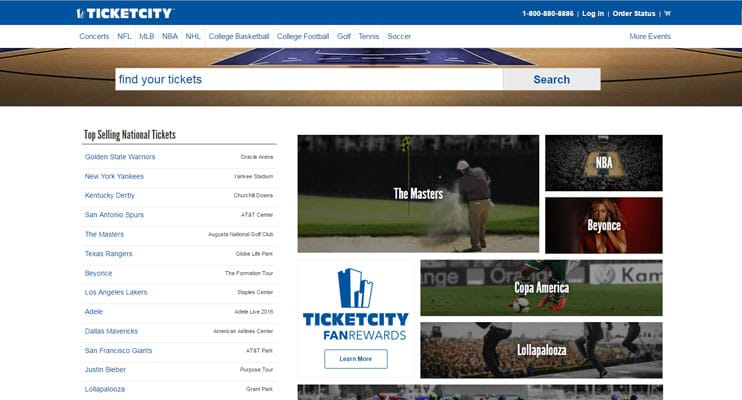 Screenshot of TicketCity Website