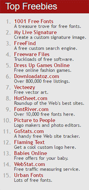 Screen grab of the Top Freebies on TheFreeSite.com