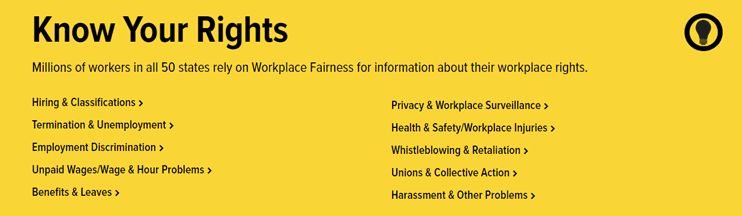 Screenshot of Workplace Fairness Bill of Rights