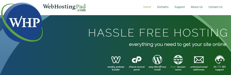 Screenshot of WebHostingPad homepage
