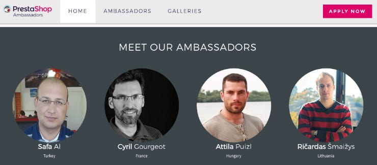 Screenshot from PrestaShop's Ambassadors page