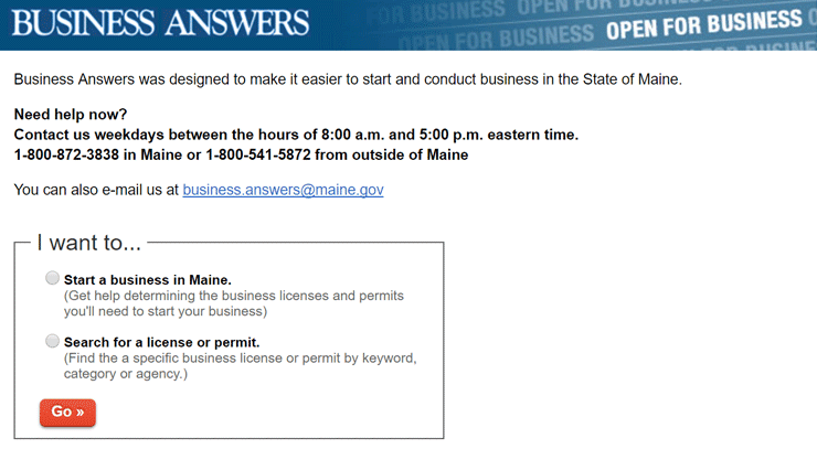 Screenshot of the Business Answers Page