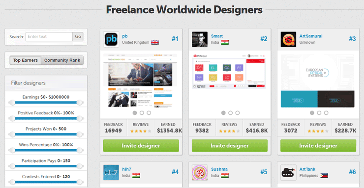 Screenshot of the top freelancers on DesignCrowd