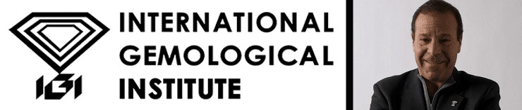 The International Gemological Institute logo and a photo of Jerry Ehrenwald, President and CEO of IGI