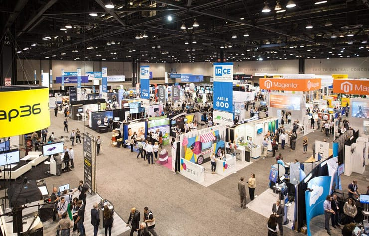 A photo of exhibitor stands in the IREC exhibit hall