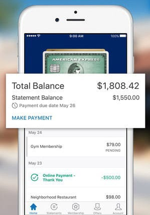 Screenshot of Amex Mobile App