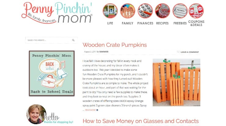 Screenshot of Penny Pinchin' Mom blog