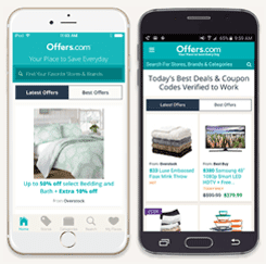 Screenshot of the Offers.com app on iPhone and Android
