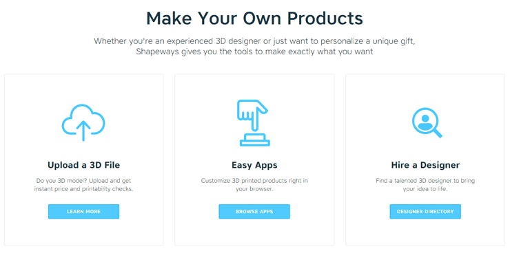 Screenshot from the Shapeways homepage