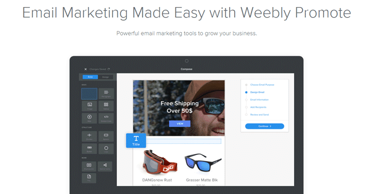 Screenshot of Weebly Promote