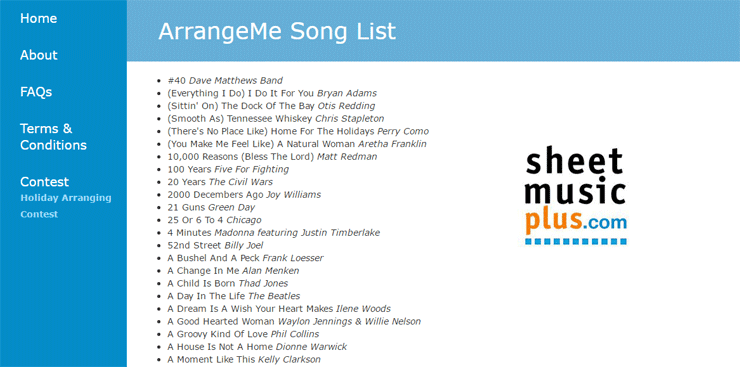 Screenshot of the ArrangeMe song list
