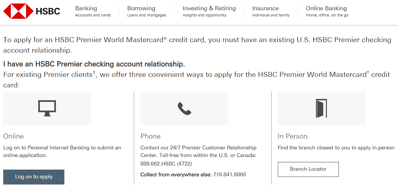 Screenshot of HSBC Application Options