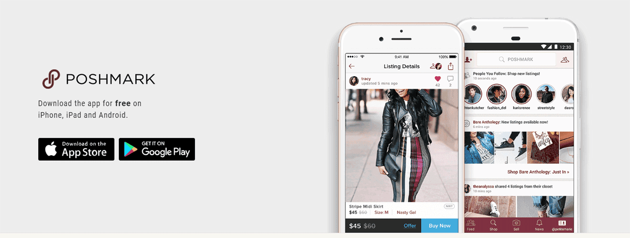 Screenshot of the Poshmark homepage