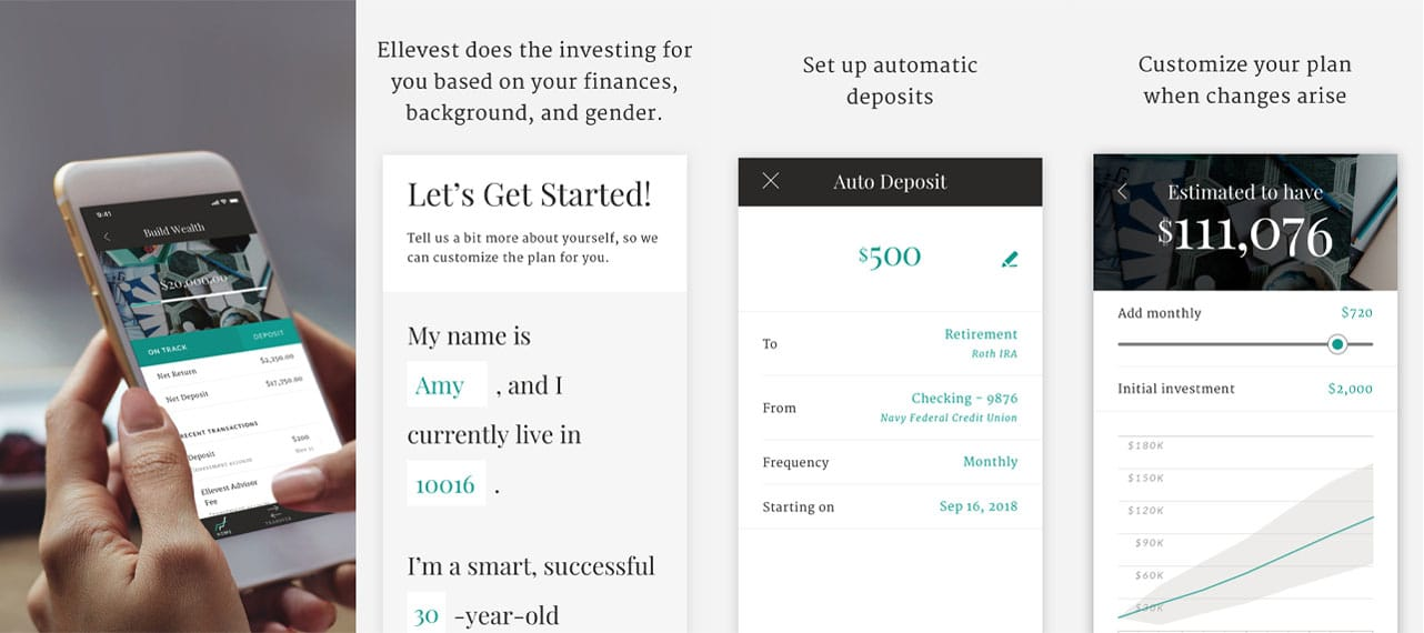 Screenshots of Ellevest app
