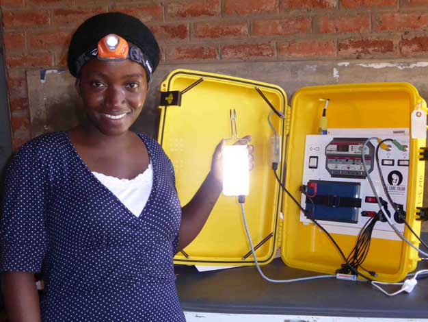 Health Care Worker with Solar Suitcase