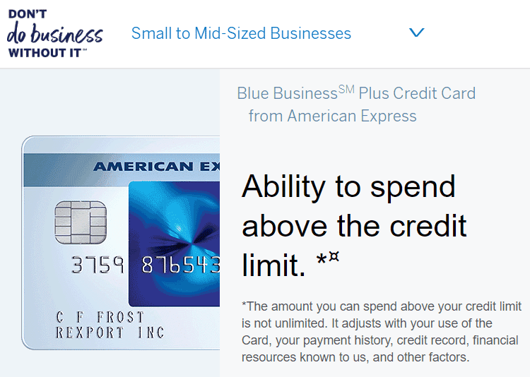Screenshot of Amex Card with Flexible Limit
