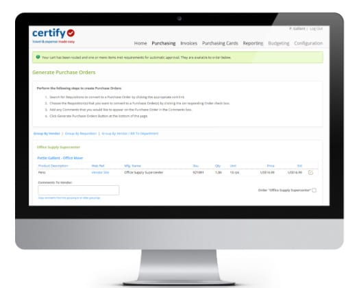 Photo of Certify Purchasing on a Computer Screen